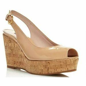 Stuart Weitzman Jean Patent Nude Wedges Sandals